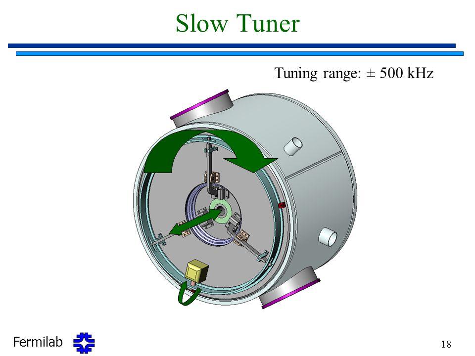 Fermilab 18 Slow Tuner Tuning range: ± 500 kHz