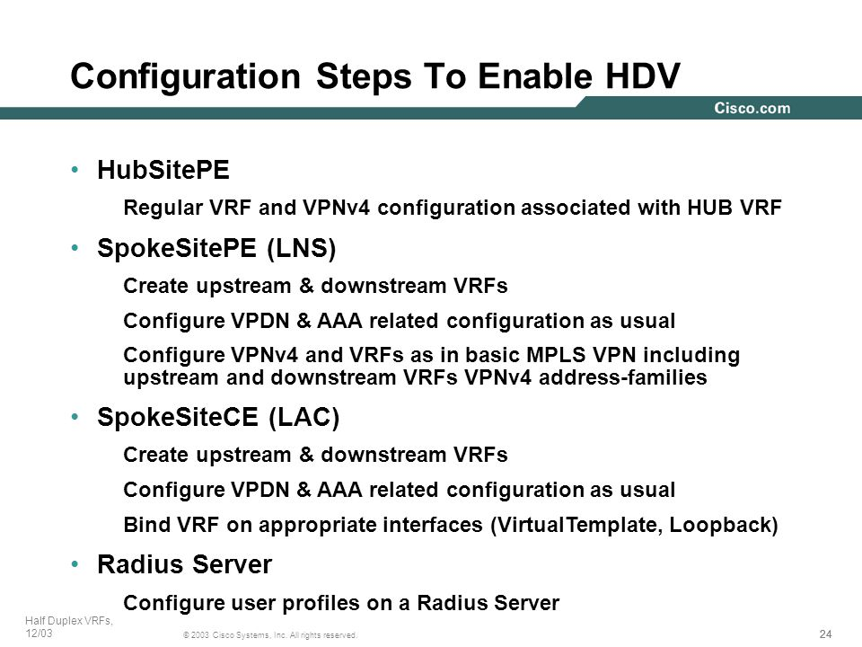 24 © 2003 Cisco Systems, Inc. All rights reserved. Half Duplex VRFs, 12/03 Configuration Steps To Enable HDV HubSitePE Regular VRF and VPNv4 configura