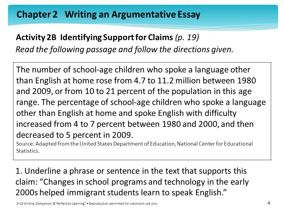 Chapter 2 Writing an Argumentative Essay 9-10 Writing Companion © Perfection Learning ® Reproduction permitted for classroom use only.