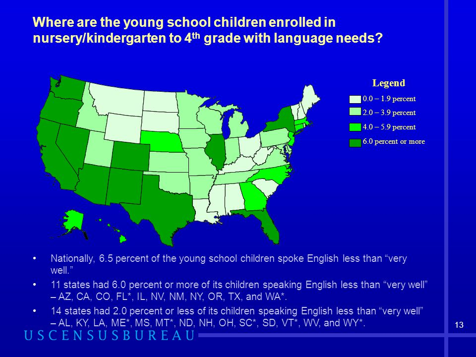 13 Where are the young school children enrolled in nursery/kindergarten to 4 th grade with language needs.