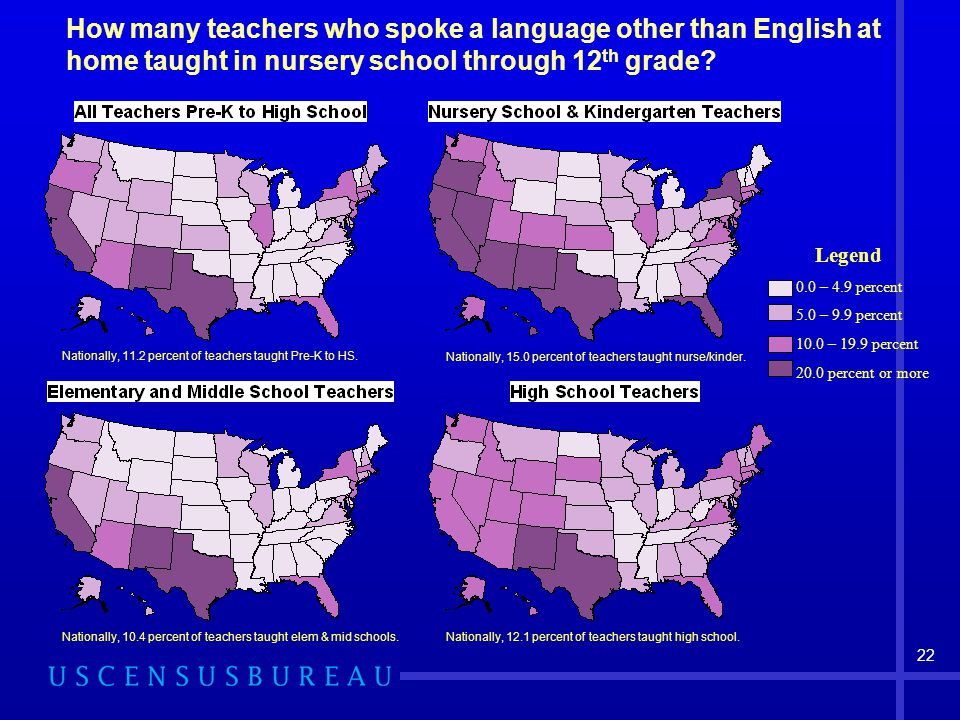 22 How many teachers who spoke a language other than English at home taught in nursery school through 12 th grade.
