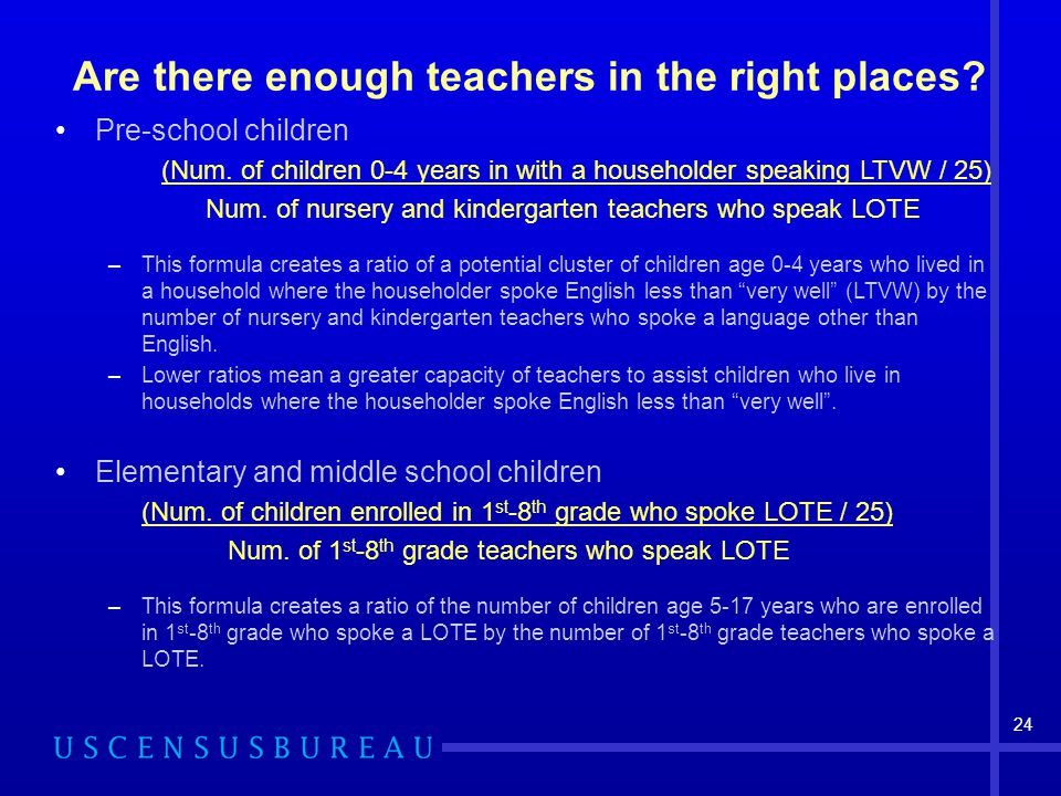 24 Are there enough teachers in the right places. Pre-school children (Num.