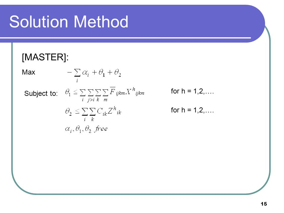 15 Solution Method [MASTER]: Max Subject to: for h = 1,2,….