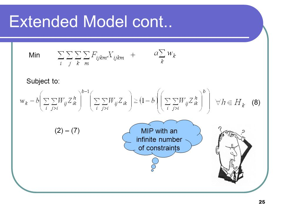 25 Extended Model cont.. Min Subject to: (2) – (7) MIP with an infinite number of constraints (8)