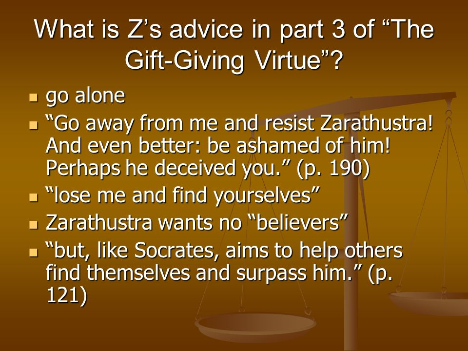 What is Z's advice in part 3 of The Gift-Giving Virtue .