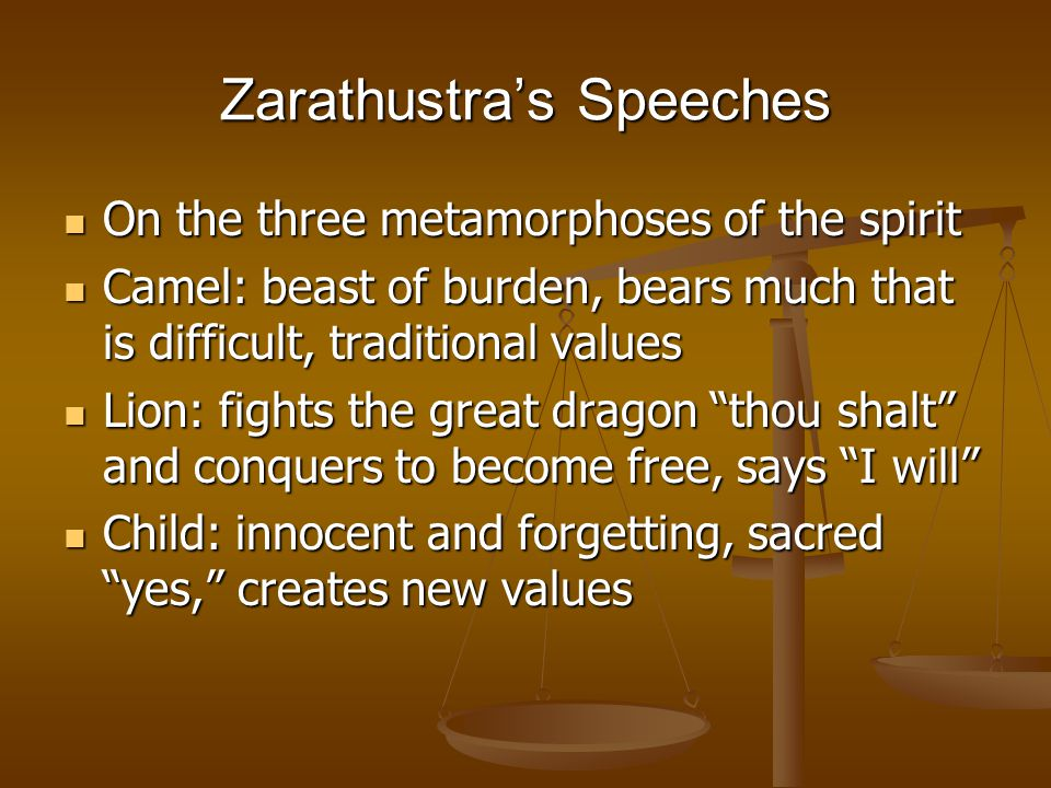 Zarathustra preaches against (1) Teachers of Virtue who preach sleep (1) Teachers of Virtue who preach sleep Blessed are the sleepy ones for they will drop off. Blessed are the sleepy ones for they will drop off. (2) Teachers of the afterworldly, i.e., metaphysicians (2) Teachers of the afterworldly, i.e., metaphysicians I teach men to no longer bury one's head in the sand of heavenly things, but to bear it freely, and earthly head, which creates a meaning for the earth. I teach men to no longer bury one's head in the sand of heavenly things, but to bear it freely, and earthly head, which creates a meaning for the earth.