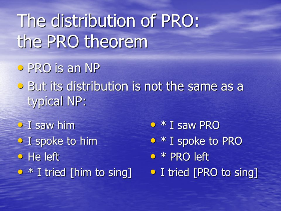 The distribution of PRO: the PRO theorem PRO is an NP PRO is an NP But its distribution is not the same as a typical NP: But its distribution is not the same as a typical NP: * I saw PRO * I saw PRO * I spoke to PRO * I spoke to PRO * PRO left * PRO left I tried [PRO to sing] I tried [PRO to sing] I saw him I saw him I spoke to him I spoke to him He left He left * I tried [him to sing] * I tried [him to sing]