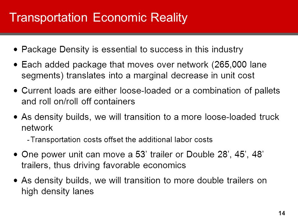 14 Transportation Economic Reality Package Density is essential to success in this industry Each added package that moves over network (265,000 lane segments) translates into a marginal decrease in unit cost Current loads are either loose-loaded or a combination of pallets and roll on/roll off containers As density builds, we will transition to a more loose-loaded truck network -Transportation costs offset the additional labor costs One power unit can move a 53' trailer or Double 28', 45', 48' trailers, thus driving favorable economics As density builds, we will transition to more double trailers on high density lanes