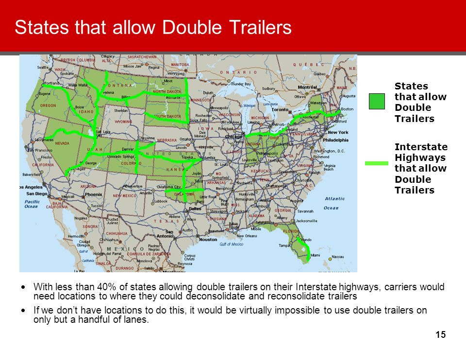 15 States that allow Double Trailers With less than 40% of states allowing double trailers on their Interstate highways, carriers would need locations to where they could deconsolidate and reconsolidate trailers If we don't have locations to do this, it would be virtually impossible to use double trailers on only but a handful of lanes.