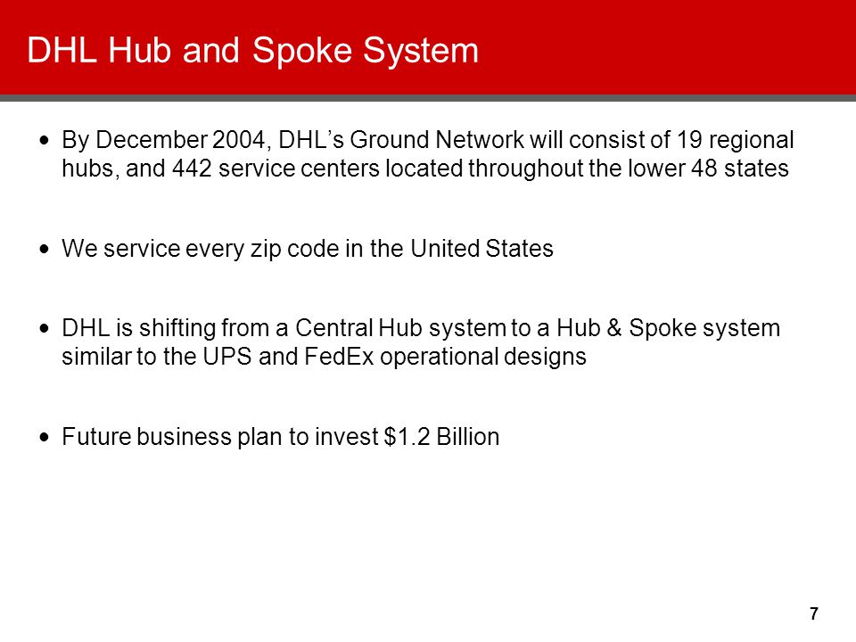 7 DHL Hub and Spoke System By December 2004, DHL's Ground Network will consist of 19 regional hubs, and 442 service centers located throughout the lower 48 states We service every zip code in the United States DHL is shifting from a Central Hub system to a Hub & Spoke system similar to the UPS and FedEx operational designs Future business plan to invest $1.2 Billion