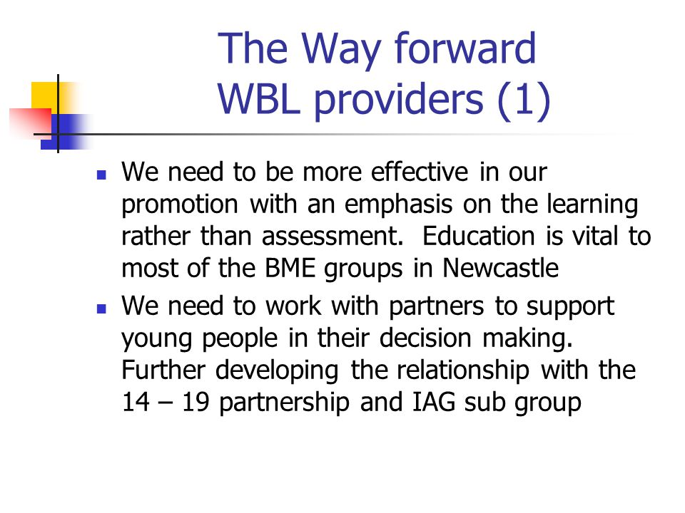 The Way forward WBL providers (1) We need to be more effective in our promotion with an emphasis on the learning rather than assessment.