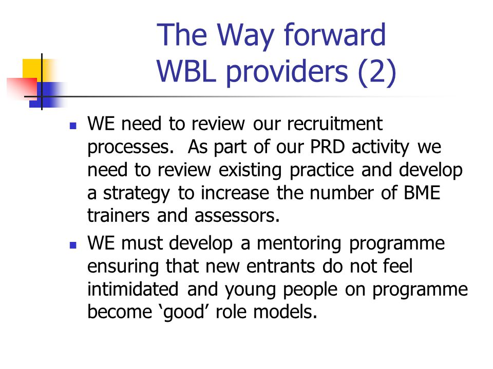 The Way forward WBL providers (2) WE need to review our recruitment processes.