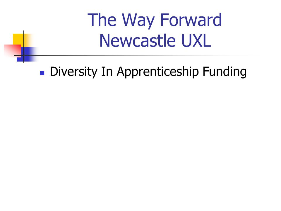 The Way Forward Newcastle UXL Diversity In Apprenticeship Funding