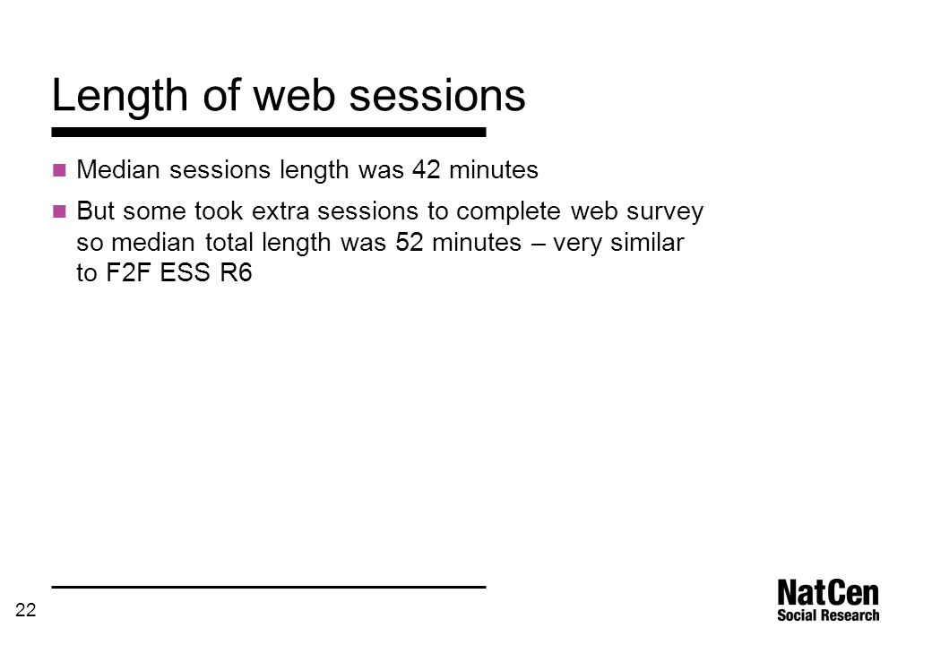 22 Length of web sessions Median sessions length was 42 minutes But some took extra sessions to complete web survey so median total length was 52 minu