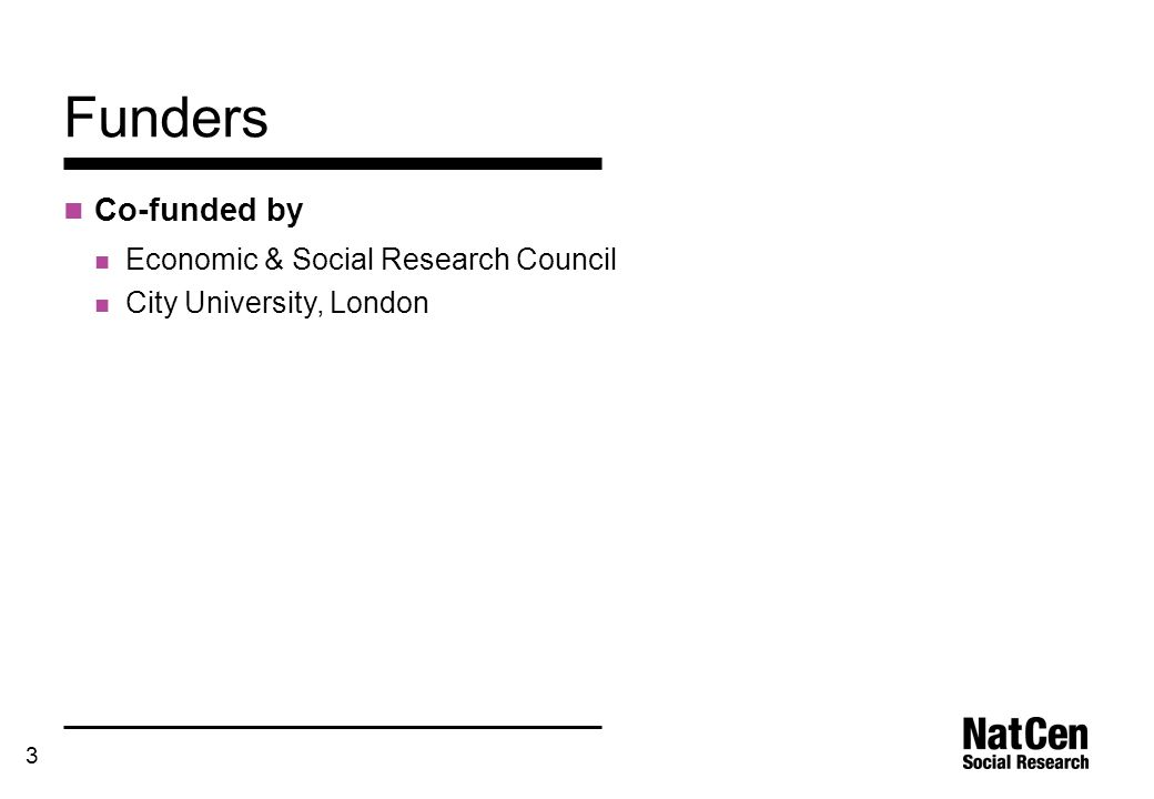 3 Funders Co-funded by Economic & Social Research Council City University, London
