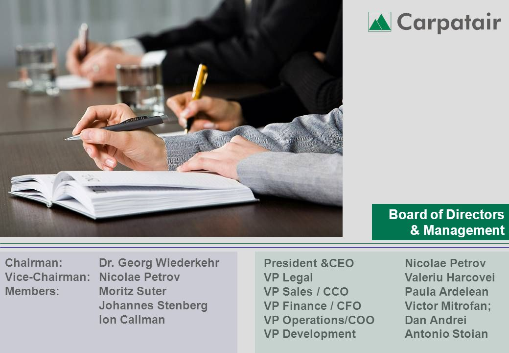 Board of Directors & Management Chairman: Dr.
