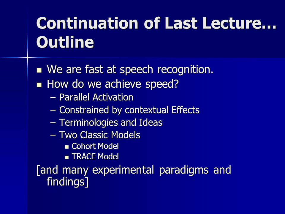 Speech Recognition How do we achieve speed.How do we achieve speed.