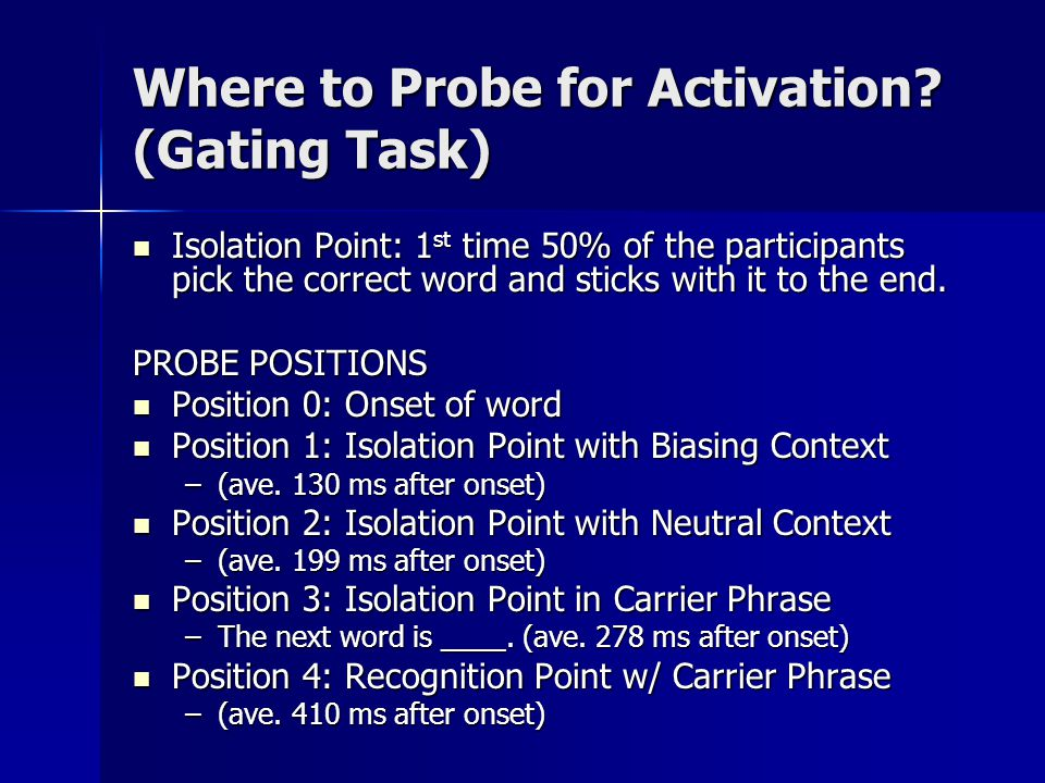 Where to Probe for Activation? (Gating Task) Isolation Point: 1 st time 50% of the participants pick the correct word and sticks with it to the end. I