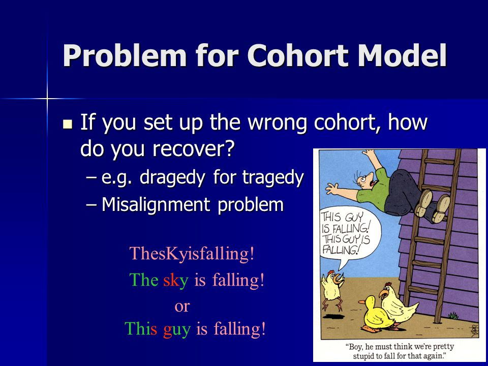 Problem for Cohort Model If you set up the wrong cohort, how do you recover.