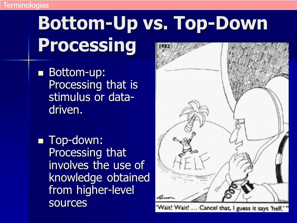 Bottom-Up vs. Top-Down Processing Bottom-up: Processing that is stimulus or data- driven. Bottom-up: Processing that is stimulus or data- driven. Top-