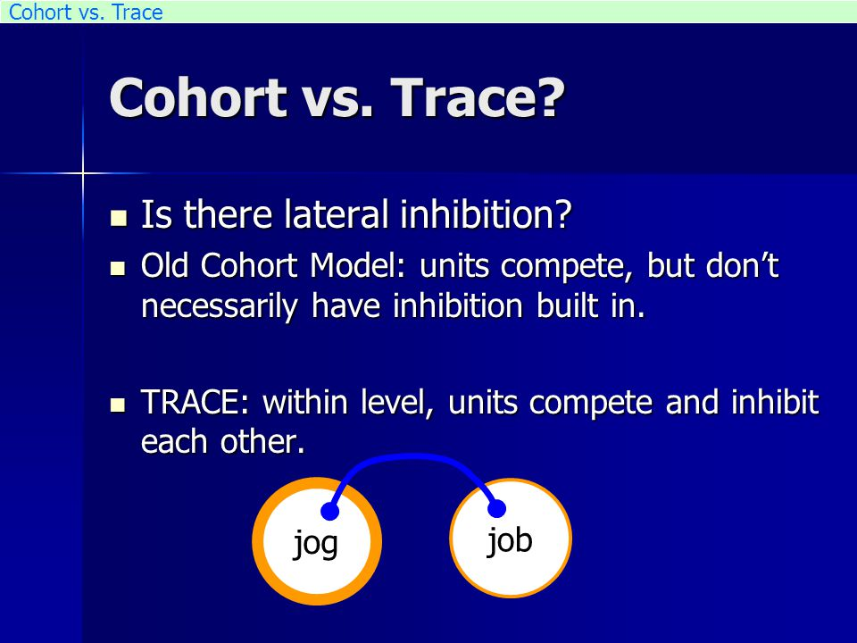 Cohort vs. Trace? Is there lateral inhibition? Is there lateral inhibition? Old Cohort Model: units compete, but don't necessarily have inhibition bui