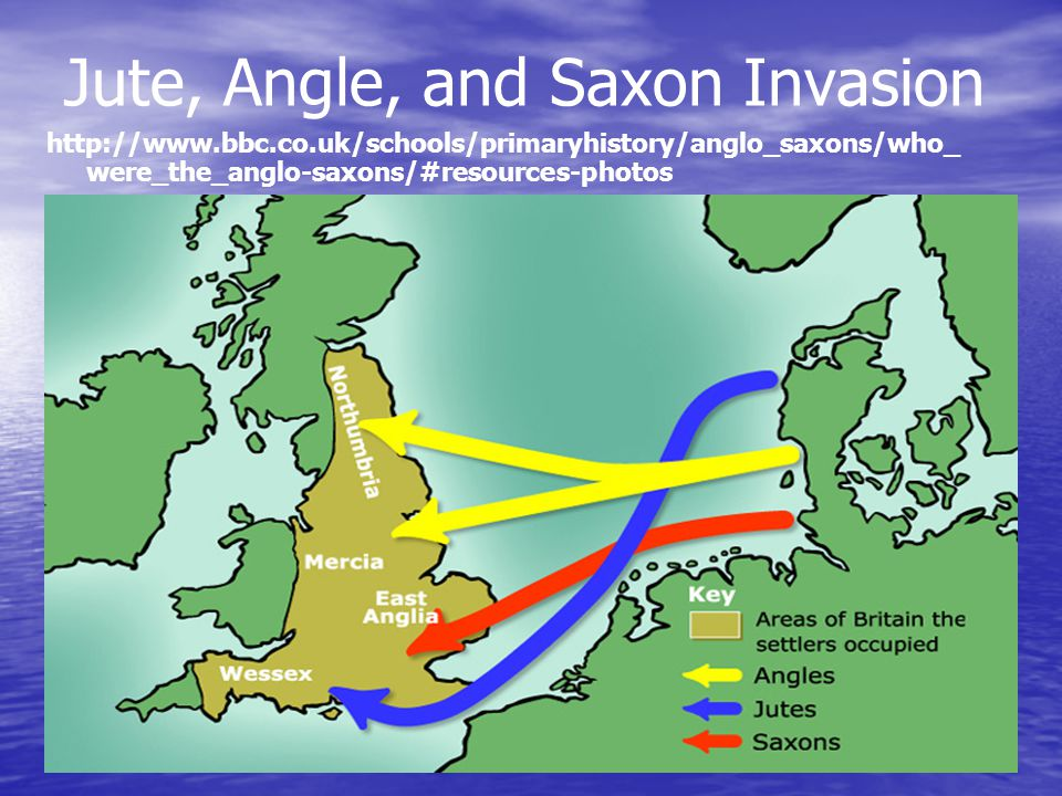 Jute, Angle, and Saxon Invasion http://www.bbc.co.uk/schools/primaryhistory/anglo_saxons/who_ were_the_anglo-saxons/#resources-photos