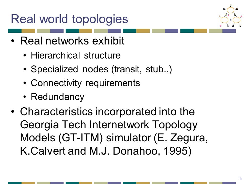 Real world topologies Real networks exhibit Hierarchical structure Specialized nodes (transit, stub..) Connectivity requirements Redundancy Characteristics incorporated into the Georgia Tech Internetwork Topology Models (GT-ITM) simulator (E.