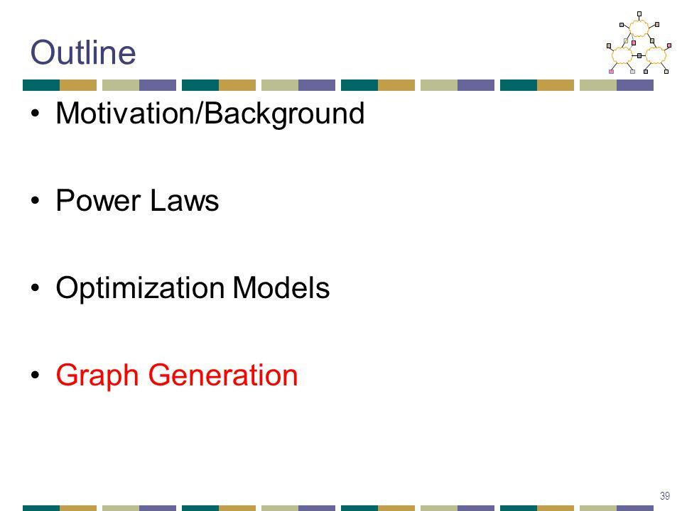 Outline Motivation/Background Power Laws Optimization Models Graph Generation 39