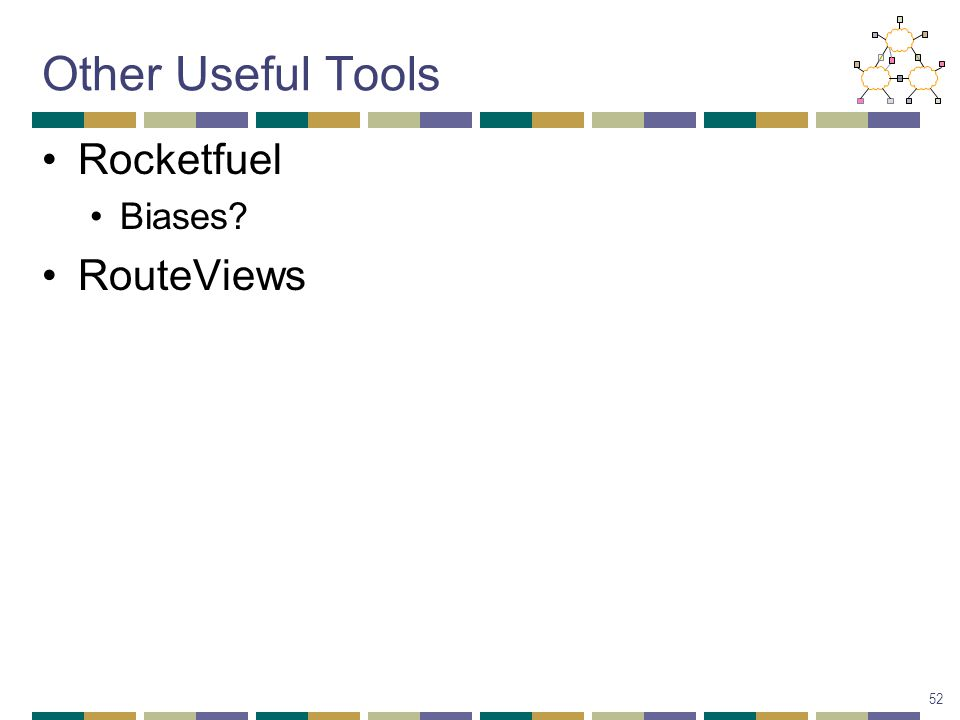 Other Useful Tools Rocketfuel Biases RouteViews 52