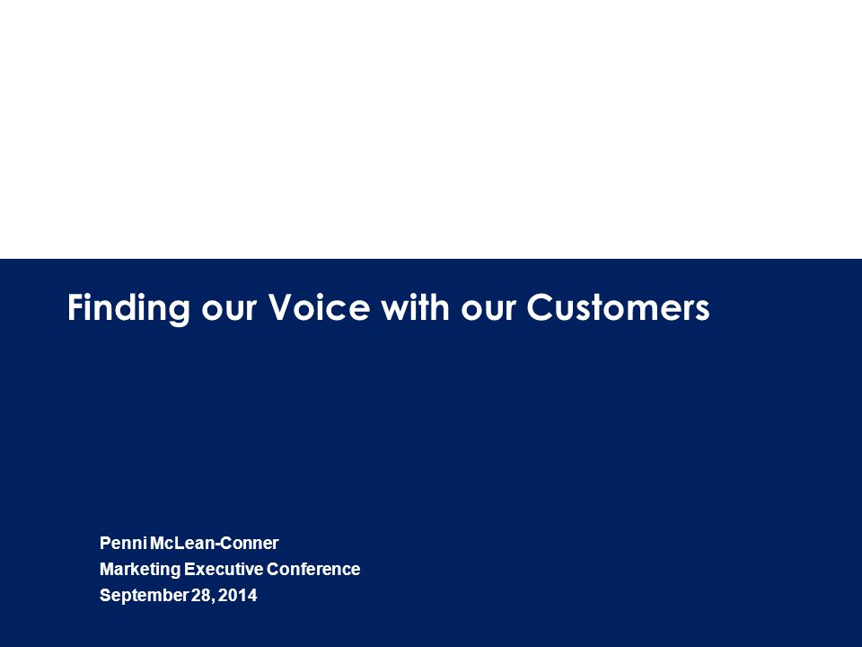 1 Finding our Voice with our Customers Penni McLean-Conner Marketing Executive Conference September 28, 2014