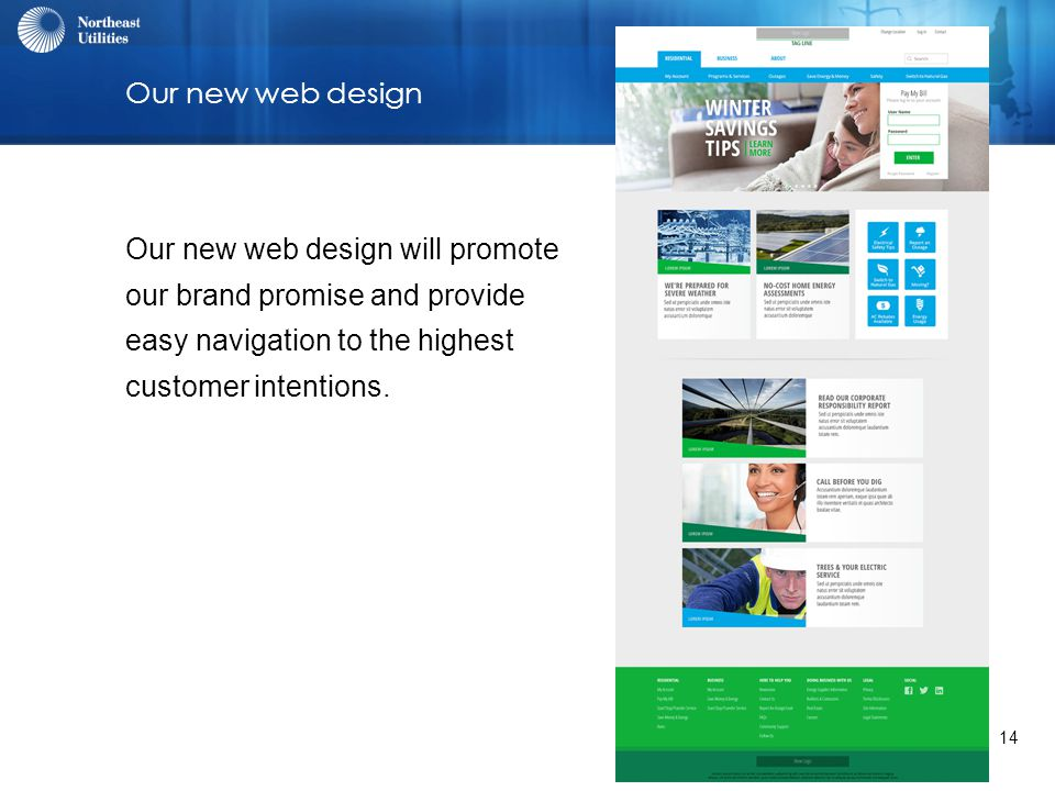 14 Our new web design Our new web design will promote our brand promise and provide easy navigation to the highest customer intentions.