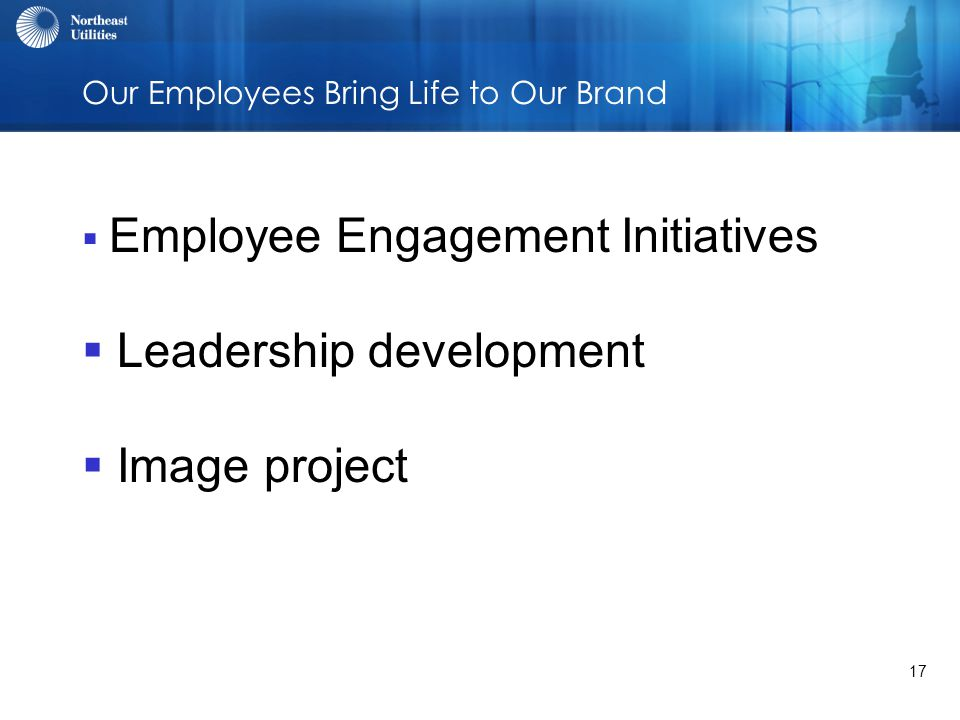 17 Our Employees Bring Life to Our Brand  Employee Engagement Initiatives  Leadership development  Image project