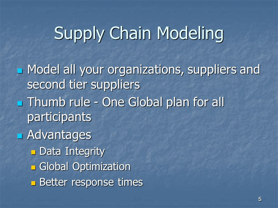 Supply Chain Modeling Model all your organizations, suppliers and second tier suppliers Model all your organizations, suppliers and second tier suppli