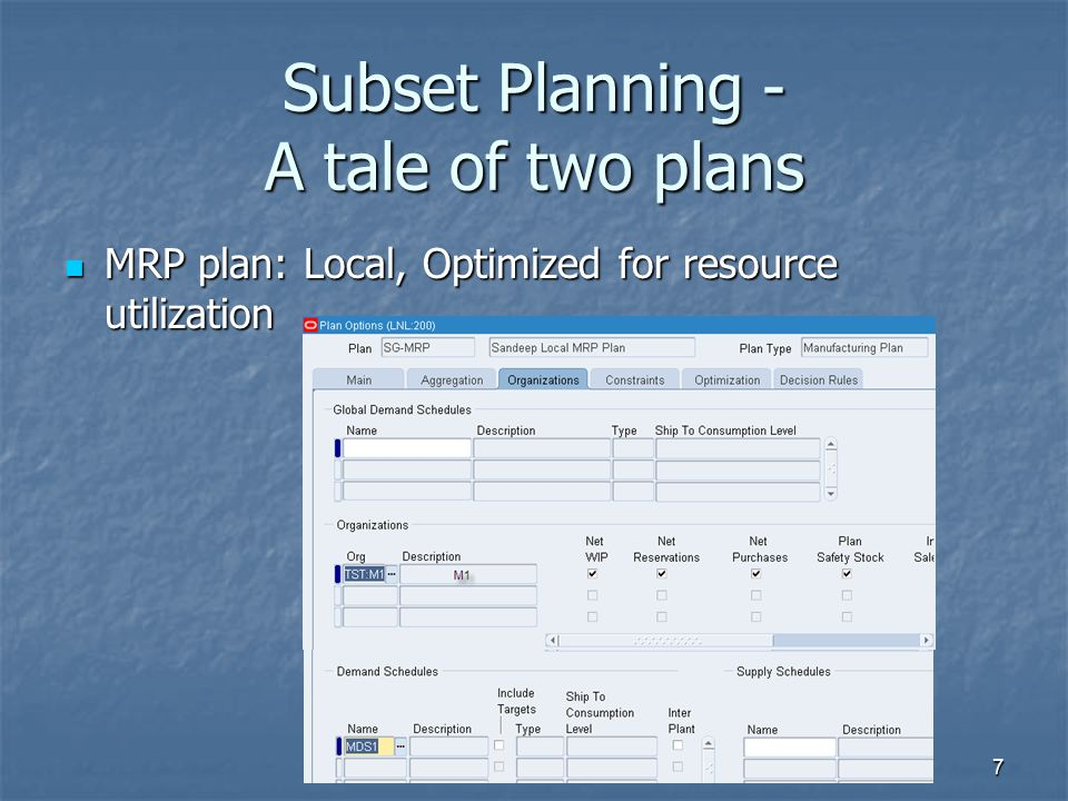 Subset Planning - A tale of two plans MRP plan: Local, Optimized for resource utilization MRP plan: Local, Optimized for resource utilization 7