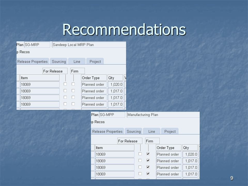 Recommendations 9