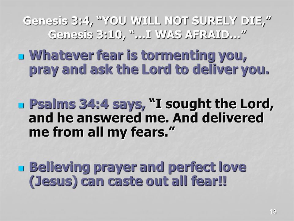 13 Genesis 3:4, YOU WILL NOT SURELY DIE, Genesis 3:10, …I WAS AFRAID… Whatever fear is tormenting you, pray and ask the Lord to deliver you.