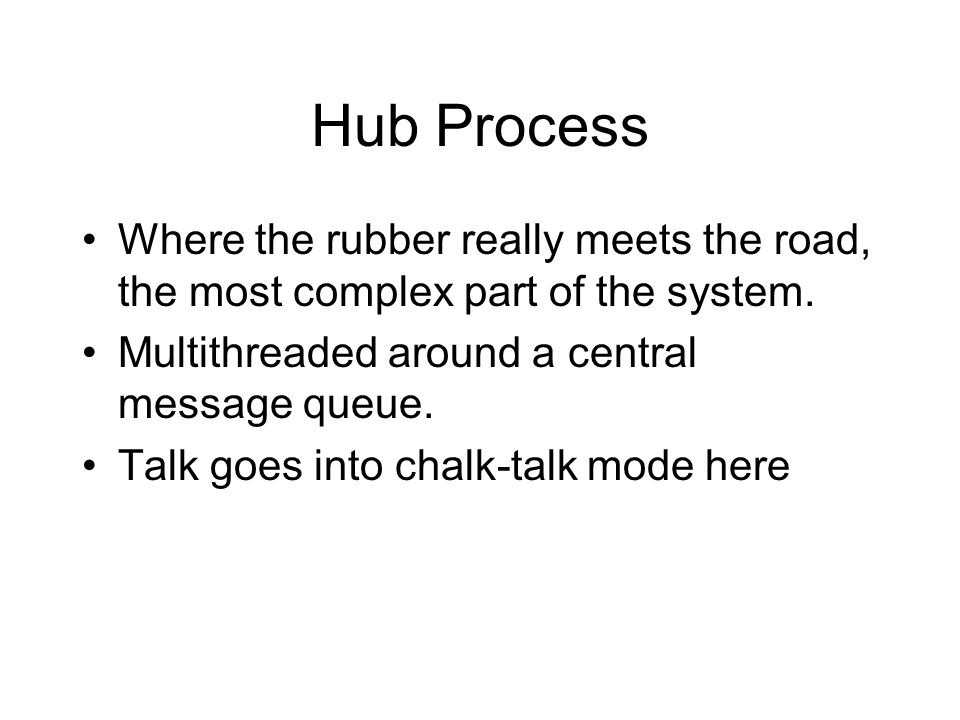 Hub Process Where the rubber really meets the road, the most complex part of the system.