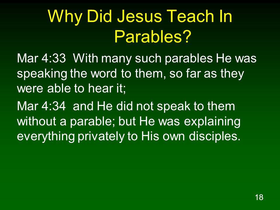 18 Why Did Jesus Teach In Parables.