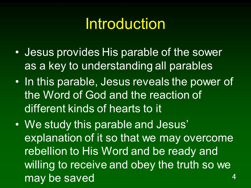 5 An Introduction To Jesus' Parables 1.What is a parable.