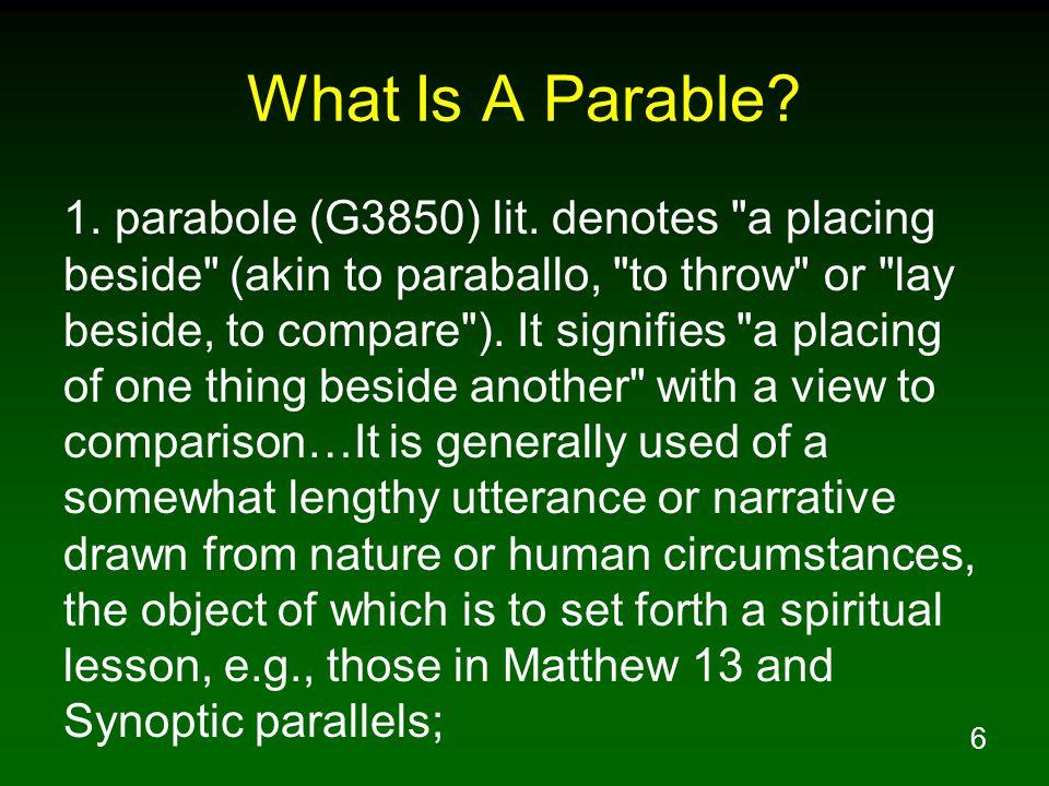 6 What Is A Parable. 1. parabole (G3850) lit.