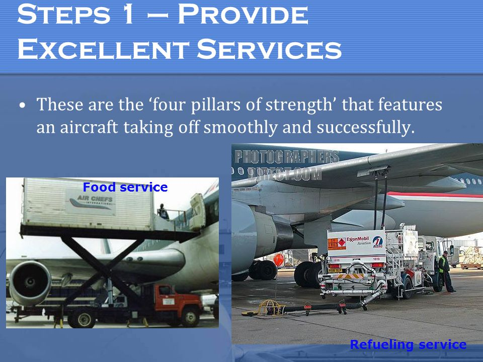 Steps 1 – Provide Excellent Services These are the 'four pillars of strength' that features an aircraft taking off smoothly and successfully.