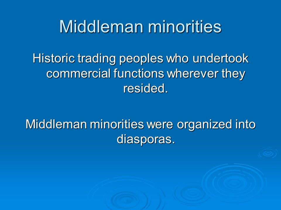 Six Examples Exemplary middleman minorities: Chinese in SE Asia Parsees of India Sikhs of East Africa Armenians of the Levant Jews of Europe and North Africa Hausa of Nigeria