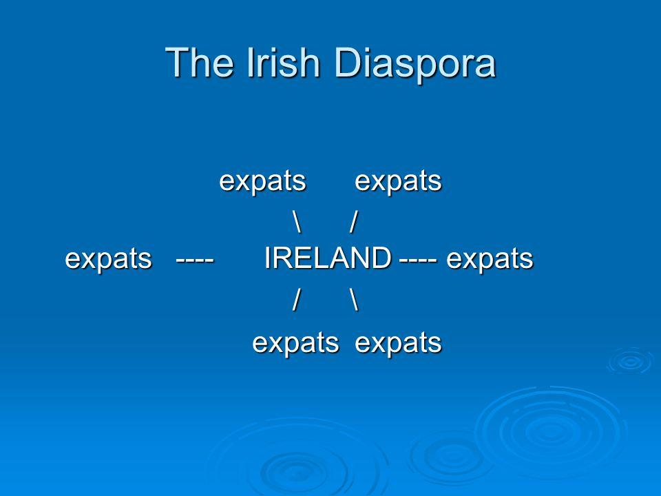 The Irish Diaspora expats expats expats expats \ / expats ---- IRELAND ---- expats \ / expats ---- IRELAND ---- expats / \ / \ expats expats expats expats