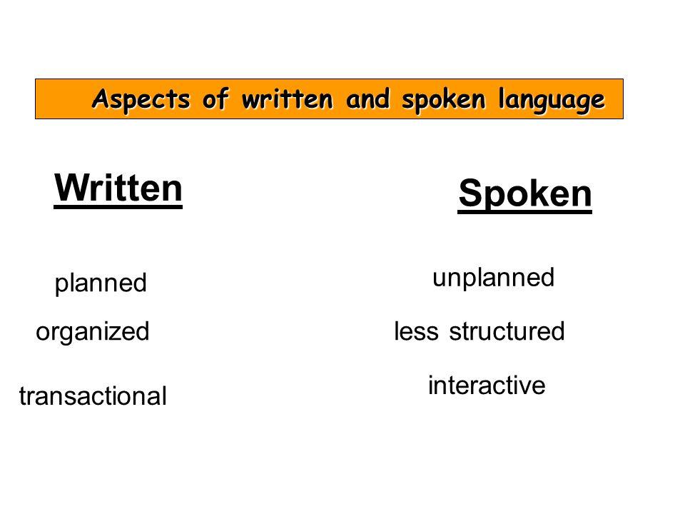 Aspects of written and spoken language Written planned organized transactional Spoken unplanned less structured interactive