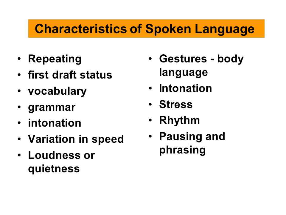 Characteristics of Spoken Language Repeating first draft status vocabulary grammar intonation Variation in speed Loudness or quietness Gestures - body