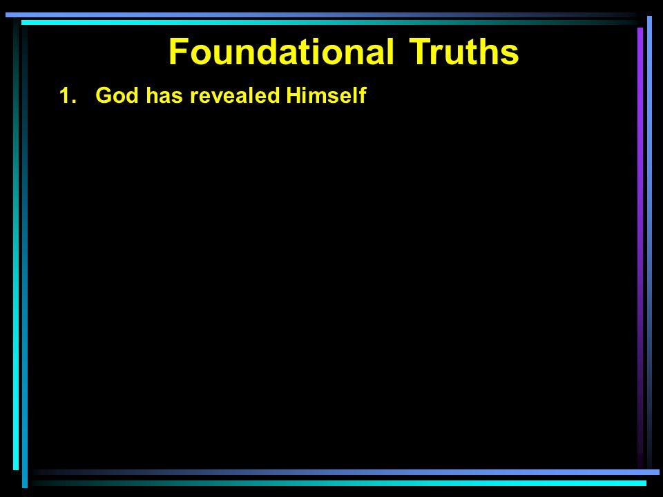 Foundational Truths 1. God has revealed Himself 2. In Old Testament spoke through prophets