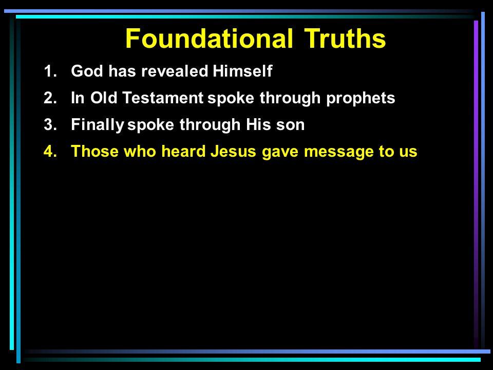 Foundational Truths 1. God has revealed Himself 2.