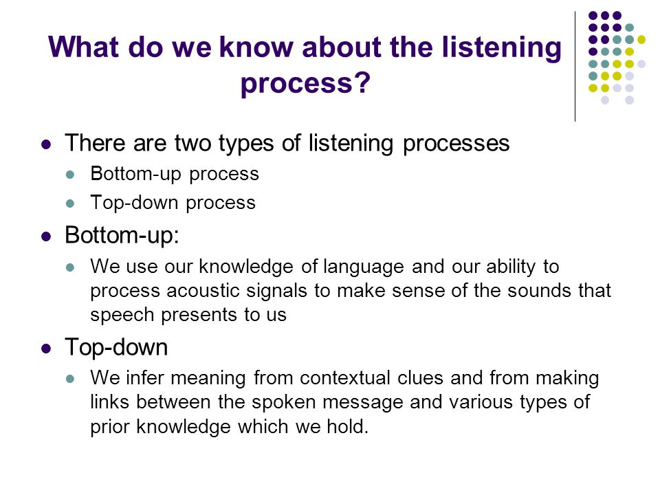 What do we know about the listening process.