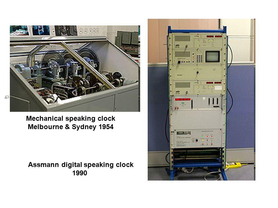 Mechanical speaking clock Melbourne & Sydney 1954 Assmann digital speaking clock 1990