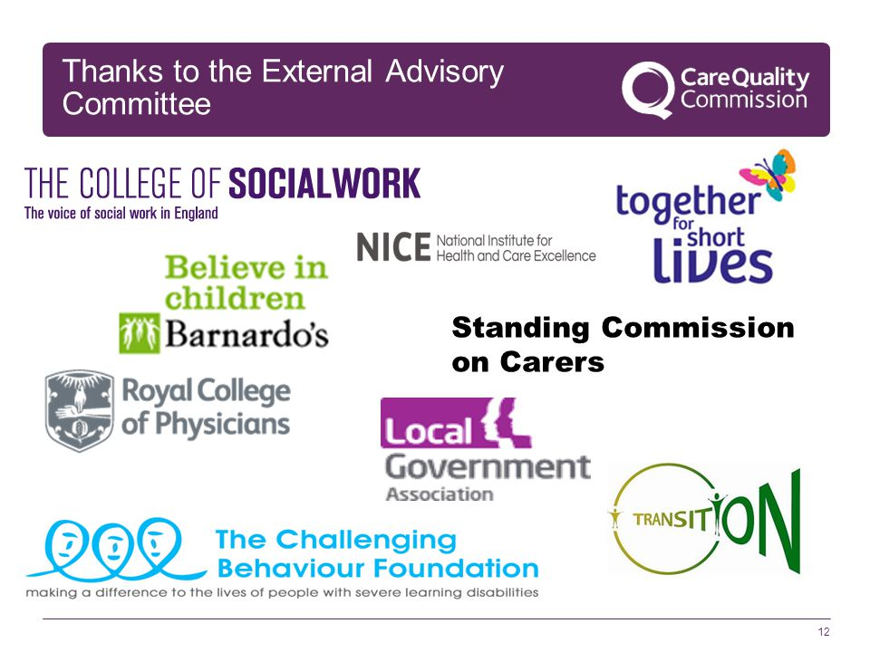 Thanks to the External Advisory Committee 12 Standing Commission on Carers